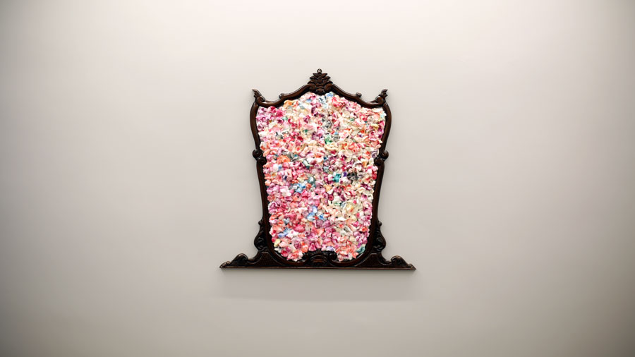 "Deniz Gül, ""Raziye"", vanity mirror, used make-up cotton, 106x106 cm 2017"