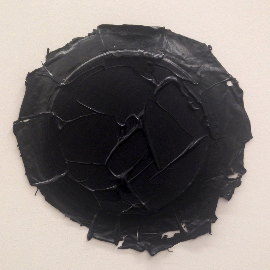 "Ayşe Erkmen, ""Ivory Black"", acrylic on canvas, varying sizes, 2015 [White Screen Black Hole]"