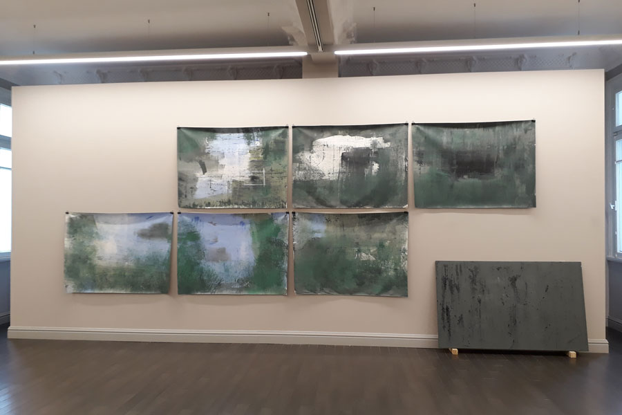 Sinan Logie , Fluid Structures Phase 16 ''Blow-up'', Oil on canvas, 6 pieces,87x121 cm (each), 2018