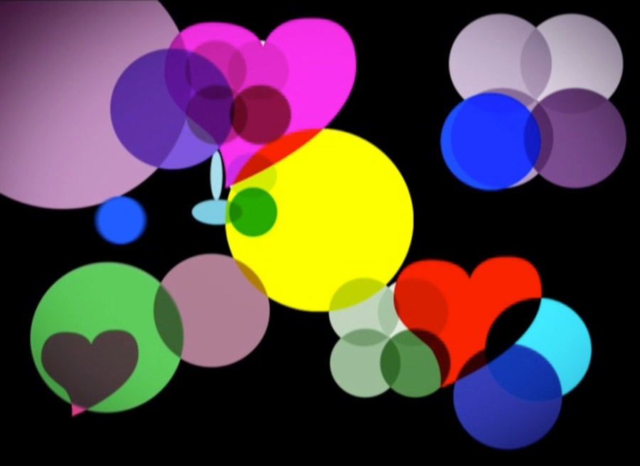 "Ayşe Erkmen, ""Hearts and Circles"", animation video, 12'40'', 2009 [White Screen Black Hole]"